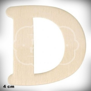 Letra D en Madera de 4 cm