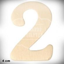 Número 2 en Madera de 4 cm