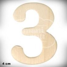 Número 3 en Madera de 4 cm