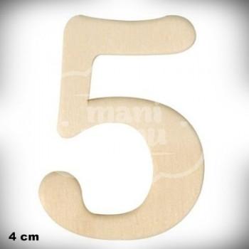 Número 5 en Madera de 4 cm