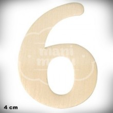 Número 6 en Madera de 4 cm