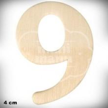 Número 9 en Madera de 4 cm