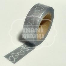 """Washi tape """"Plata Metalizada Corazones"""""""