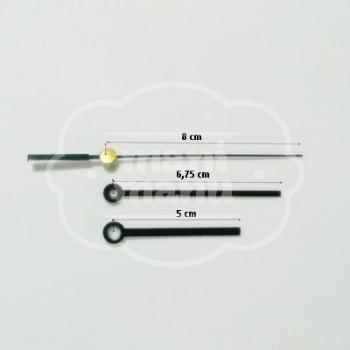 Juego de Agujas Reloj lisas color Negro  6,7 mm con Segundero