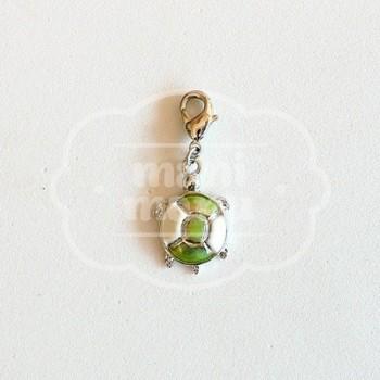 Charm Tortuga Esmaltado Verde-Blanco