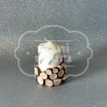 Vela decorada con madera natural 9 cm